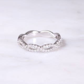 White Gold Diamond Twist Half Eternity Ring