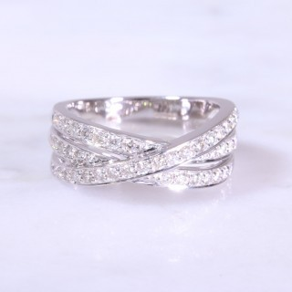 3 Row Cross Over Diamond Ring