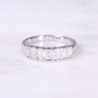 Emerald Cut Diamond 7 Stone Ring