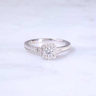 Round Brilliant Diamond Cushion Halo Engagement Ring
