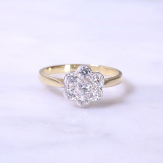 Round Brilliant Diamond Cluster Milgrain Engagement Ring