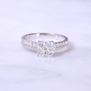 Round Brilliant Diamond Sq Cluster 2 Row Engagement Ring