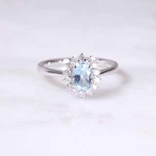Aquamarine & Diamond Oval Cluster Ring