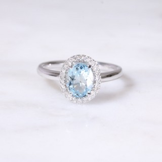 Aquamarine & Diamond Oval Halo Ring