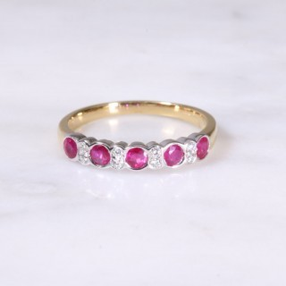 Ruby & Diamond Rub-Over Half Eternity Ring