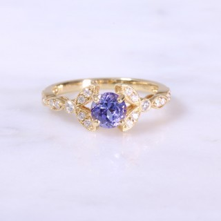 Round Sapphire & Diamond Floral Shoulder Ring