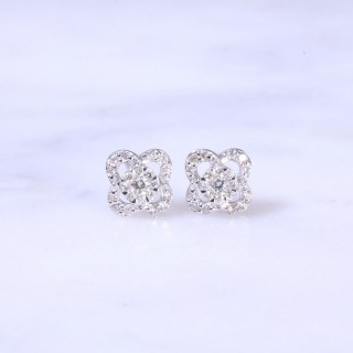 Diamond Open Flower Ear Studs 0.23ct