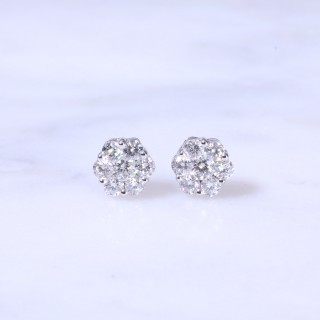 Diamond Round Cluster Ear Studs 0.73ct