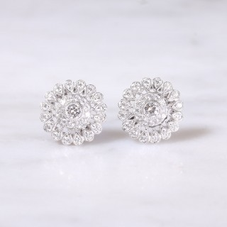 Filigree Diamond Cluster Earrings