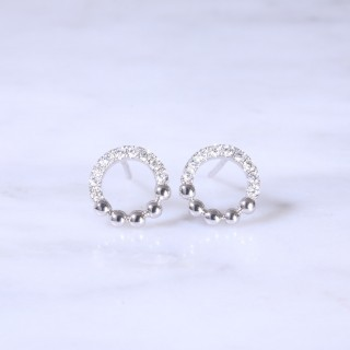 Circular Diamond Bead Earrings
