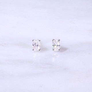 Oval Cut Diamond Ear Studs