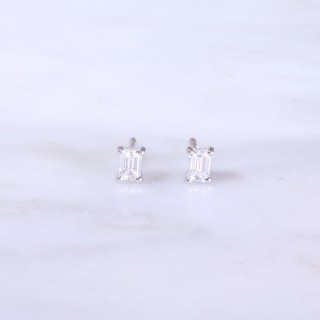 Emerald Cut Diamond Ear Studs