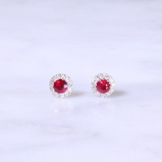 Petite Ruby & Diamond Halo Ear Studs