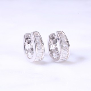 Baguette Diamond Channel Set Huggie Hoop Earrings