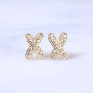 Diamond Cross Earrings 0.42ct
