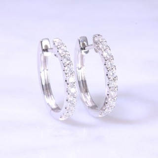 Diamond claw set huggie hoop earrings large