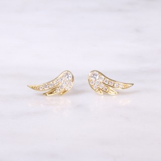 Yellow Gold Feather Diamond Ear Studs