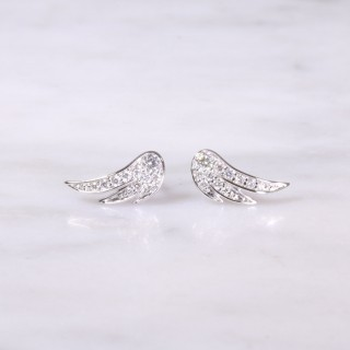 White Gold Diamond Feather Ear Studs