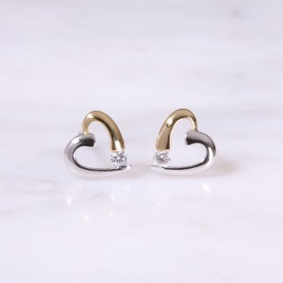 Mixed Gold Open Diamond Hear Ear Studs