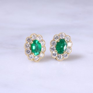 Oval Emerald & Diamond Ear Studs