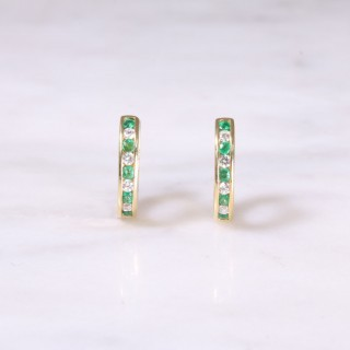 Emerald & Diamond Huggie Hoop Earrings