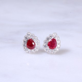 Pear Ruby & Diamond Ear Studs