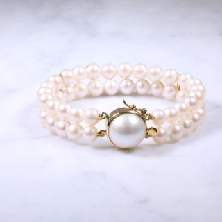 2 Row Cultured Pearl & Mabe Bracelet