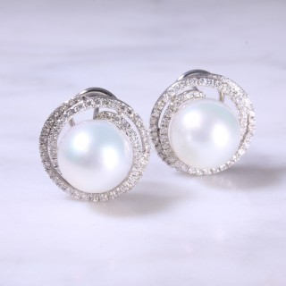 Cultured Pearl & Diamond Swirl Ear Studs