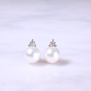 Trefoil Diamond & Cultured Pearl Earrings
