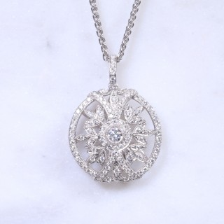 Diamond Deco Round Pendant