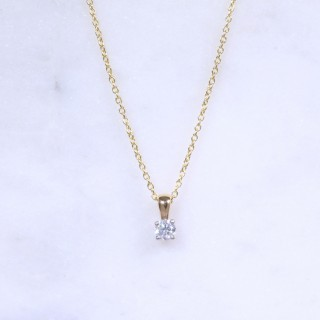 Round Brilliant Diamond Solitaire Necklace 0.16ct