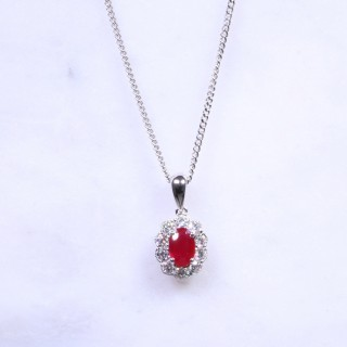 Oval Ruby & Diamond Milgrain Cluster Necklace