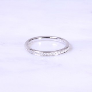 Grain Set Diamond Half Eternity Ring 2mm