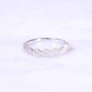 Marquise and Round Diamond Milgrain Ring 3.5mm