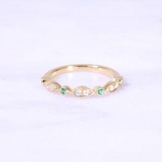 Fancy Emerald & Diamond Milgrain Eternity Ring 3mm