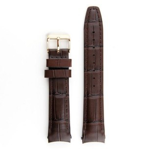 Everest Curved End Leather Strap In Brown