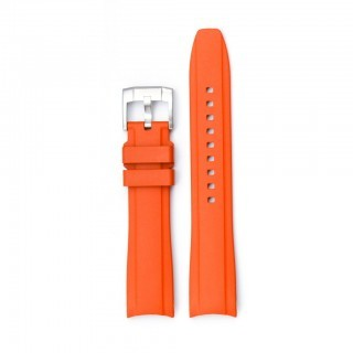 Everest Curved End Orange Rubber Strap With Tang Buckle