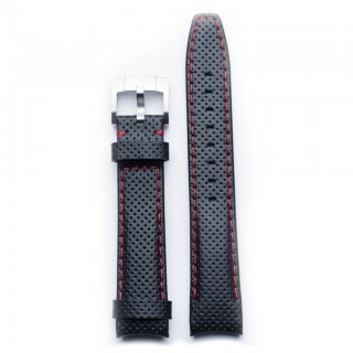 Everest Curved End Racing Leather Strap In Black & Red