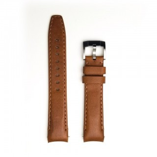 Everest Curved End Leather Strap In Chestnut