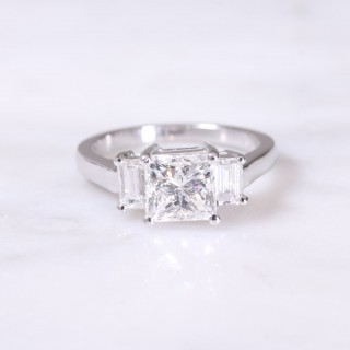 Princess and Baguette Cut 3 Stone Diamond Ring